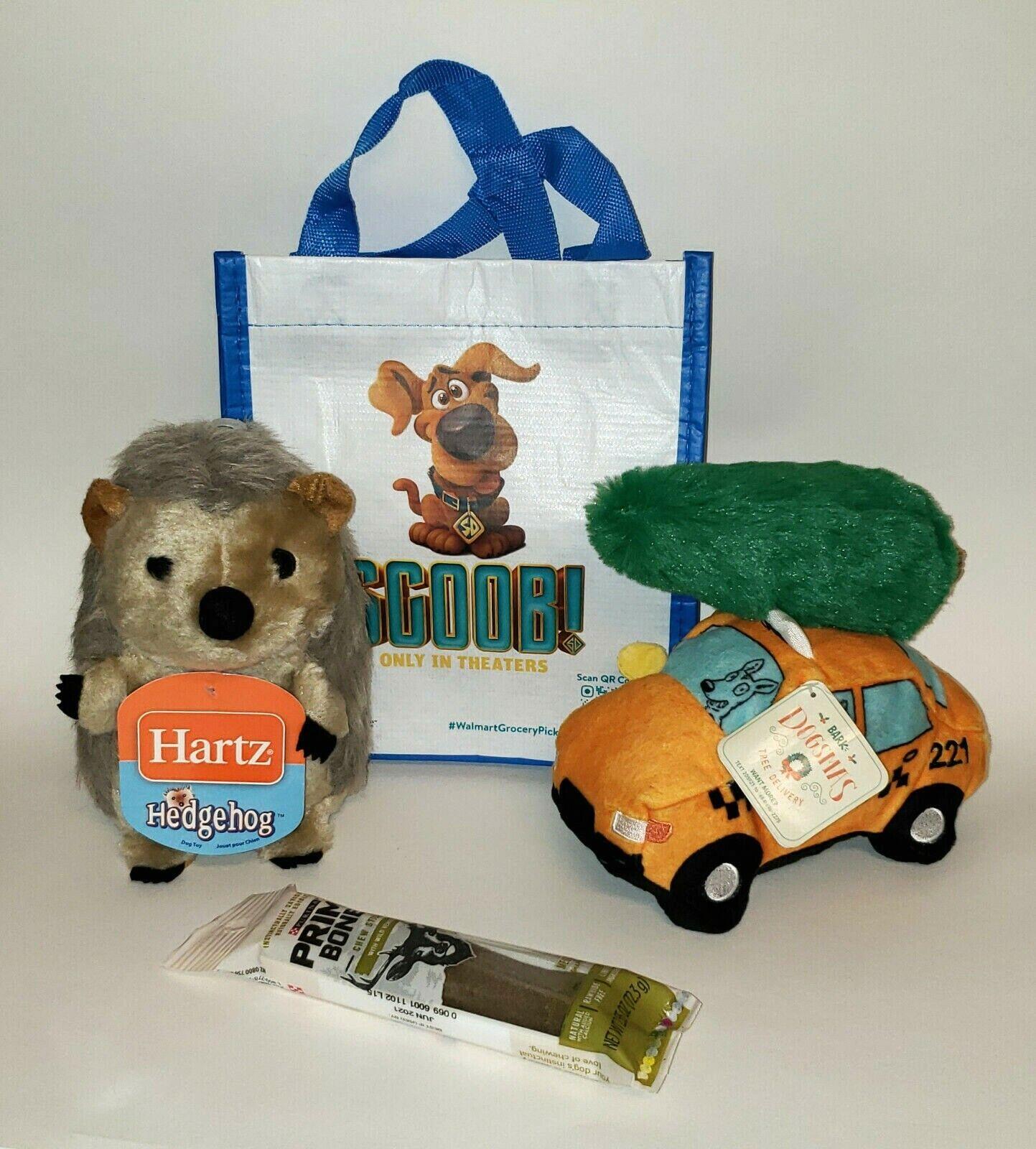 Lot of Bark Box Christmas Taxi & Hartz Hedgehog Squeaky Plus