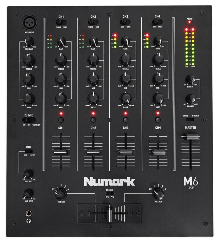 Numark M6 USB 4-Channel Pro DJ Mixer w/ USB Interface M6USB, Black