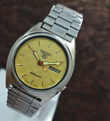 Genuine Seiko 5 Day Date 17 Jewels 7009 Automatic Movement Men's Wrist Watch