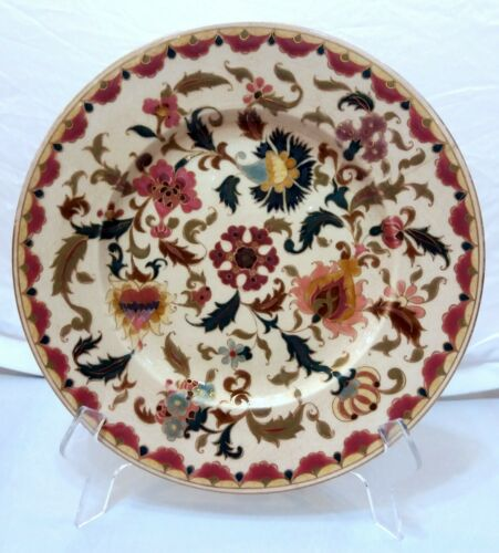 Zsolnay Antique Plate with Colorful Central Flower Decoration