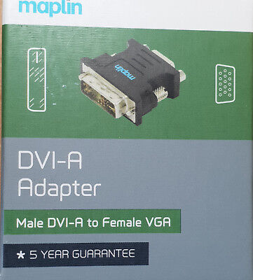 Certified High Quality DVI-A Adapter, Male DVI-A to Female VGA - New - Maplin