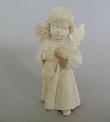 Engel mit Glocke ca 4 cm hoch,Holz geschnitzt natur Weihnachts Pyramide 405-04