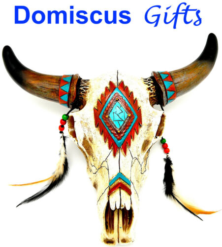 """12"""" NEW Western NATIVE AMERICAN Longhorn Cow SKULL Southwest Home Decor Feathers"""