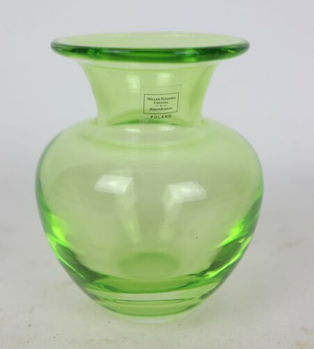 Miller Rogaska Crystal Reed & Barton Lime Green Blown Glass Crystal Vase Poland