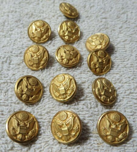 "13 Vintage 5/8"" Gold Toned Military Uniform Buttons Waterbury Military Decor Art"