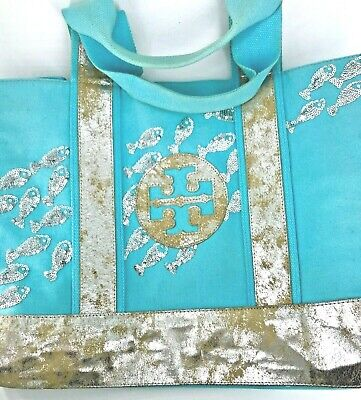 Tory Burch Silver Sequin Fish Canvas & Leather Turquoise Teal Tote (Tory Burch Teal Bag)