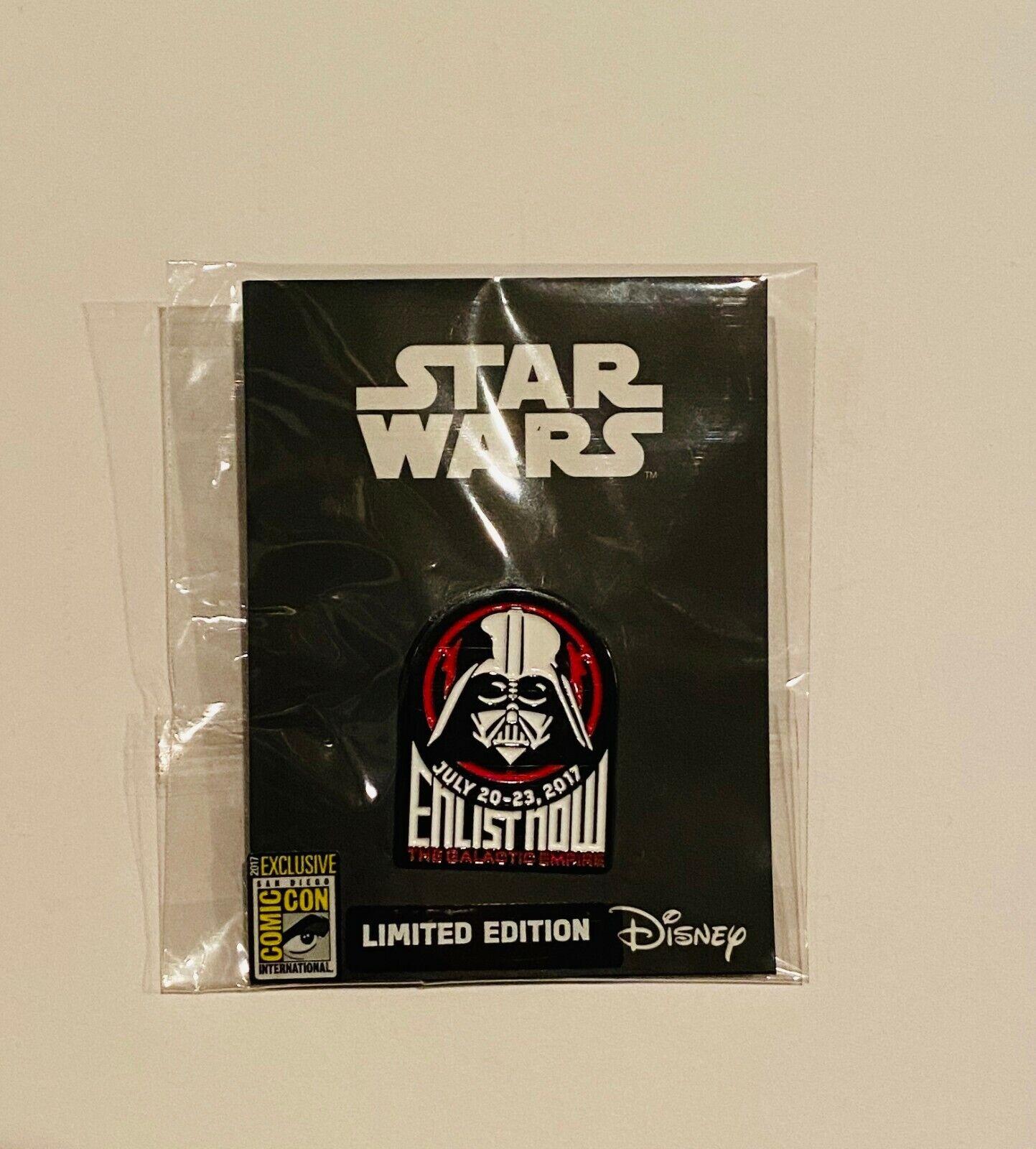 SDCC 2017 Star Wars Limited Edition Darth Vader Enlist Now Disney Enamel Pin - $20.00