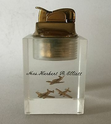 Vintage EVANS usa 3 Brass AIRPLANES Clearfloat Acrylic Table LIGHTER  Estate