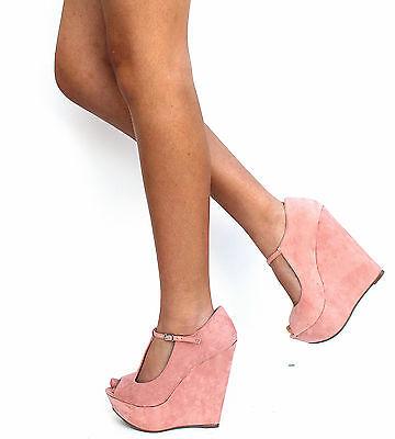 New Women Bce2 Blush T Strap Open Peep Toe Platform Wedge High Heel Sz 5 5 To 11