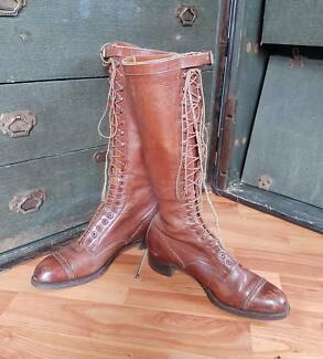 Antique Victorian leather lace-up boots