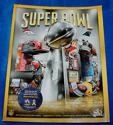 NFL Super Bowl 50 Official Game Denver Broncos vs. Carolina Panthers Program