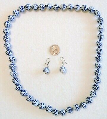 Chinese Blue & White Porcelain Flower Floral Knotted Bead Necklace Earring Set