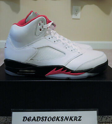 2020 Nike Air Jordan 5 Retro White Fire Red DA1911 102 GS & Men's Sizes