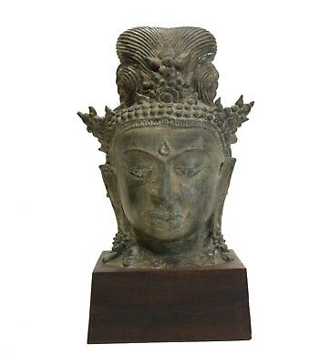 Large Bronze Head Fragment, Thai Buddhist Goddess, Tara / Guanyin Eyes downcast