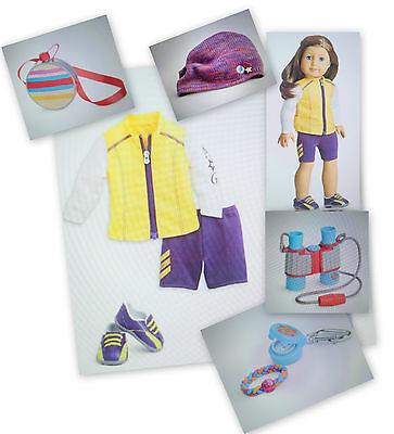 (AMERICAN GIRL RETIRED CYCLING OUTFIT & TRAIL ACCESSORIES FOR 18