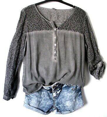 Taifun Bluse Long Shirt Tunika L XL 42 steingrau Used Look elastische Spitze TOP online kaufen