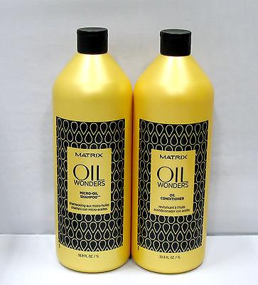 Matrix Oil Wonders Micro Oil Shampoo and Conditioner Liter Set Duo 33.8 oz Argan