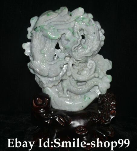 "12"" Top China Natural Emerald Jadeite Carving Fengshui Dragon Phoenix Statue"