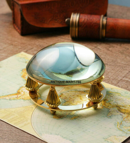 Shiny Brass Desk Magnifying Glass Paper Weight For office Decor Christmas Gift,