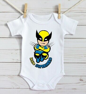 Wolverine Baby Costume (Little Wolverine superhero funny Baby Gift costume Bodysuits son dad Cotton)