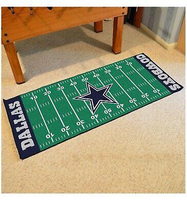 Dallas Cowboys NFL Football Field Runner Man Cave Area Rug Mat 29.5