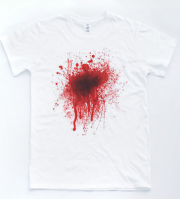 Blood Splat Stain Halloween Scary Fancy Dress Zombie Top Costume Wound T-shirt