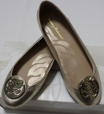 $165 TOMMY BAHAMA GOLD ATHENS LEATHER BALLET FLATS US 6.5M