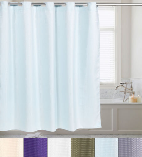 Fabric Shower Curtain Waffle Weave Hookless With Snap Off Liner 70″x75″ Bath