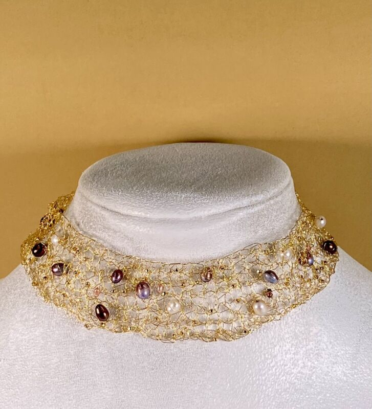 I Am Edgar Berebi My Vintage Hand Macramé Goldplate WireFresh Water Pearl Choker