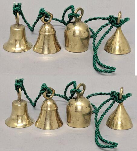 "Bells Brass 4 on 36""Long Green Twist String Bells 1.5""Dia 3""Tall Set/2 Strings"