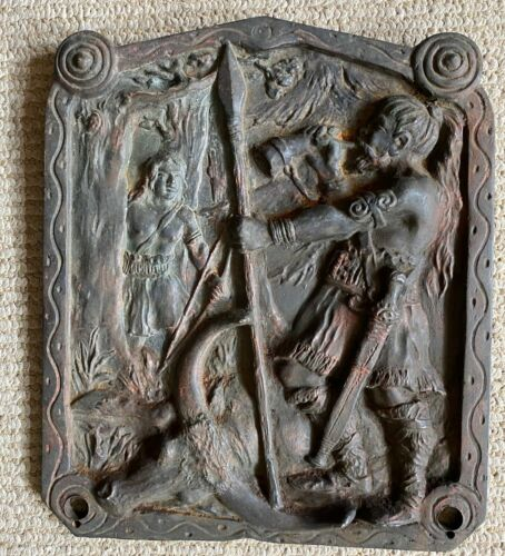 Antique 19th Century Cast Bronze Relief of Hunter/Hunting Scene/Marked Germany