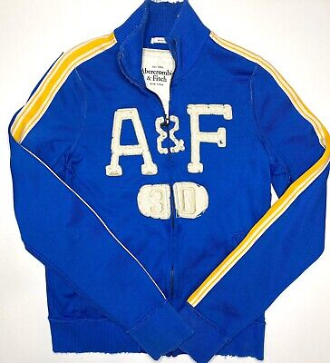Vintage Abercrombie & Fitch Blue & Yellow Distressed Heavyweight Track Jacket