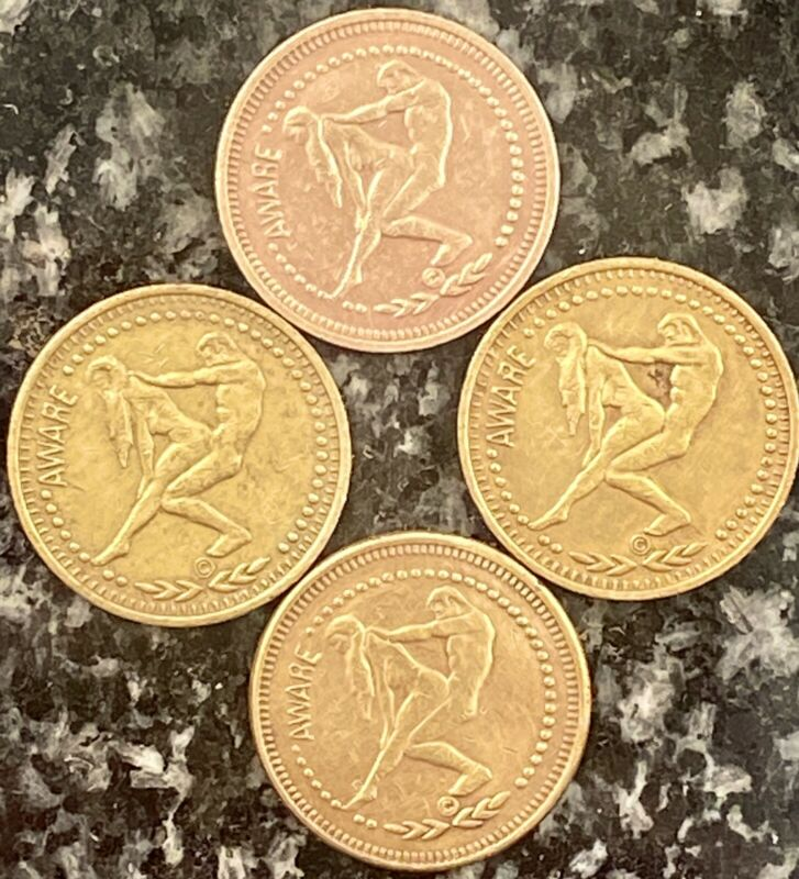 LOT OF 4 VINTAGE TOKENS • CONNECT WITH A GEMINI ♊️ AWARE• ASTROLOGY SEX COINS