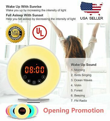 Wake Up Light Alarm Clock Digital LED 6 Color Switch Radio Sunrise Natural Light