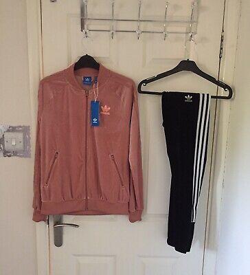 Adidas Womens Velvet Velour Tracksuit Jacket Velvet Leggings UK 10-12