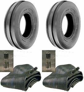 TWO 4.00-12 4.00X12 400-12 CUB FARMALL Tri 3-Rib Tractor Tires with Tubes 4Ply