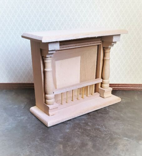 Dollhouse Miniature Fireplace Large DIY 1:12 Scale Furniture Unfinished Wood