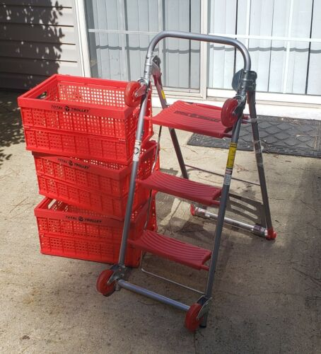 Total Trolley 4 in 1 Hand Truck Dolly Step Ladder Cart +3 Collapsible Bins ~READ