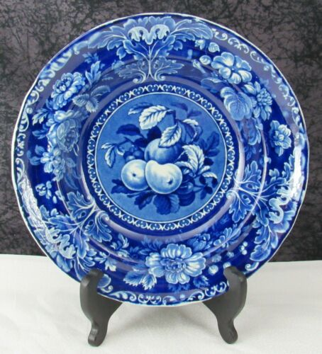 Antique Staffordshire Davenport Fruit & Flowers Dark Blue Transferware Soup Bowl