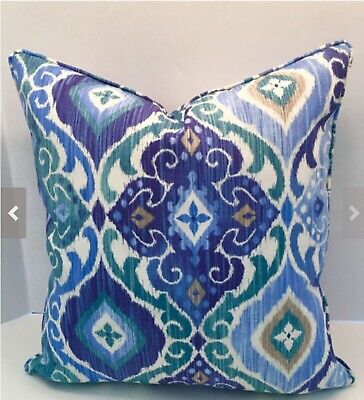 Decorative Outdoor Pillow Cover in Blue Fresca Ikat Fabric with Self Welt/Piping