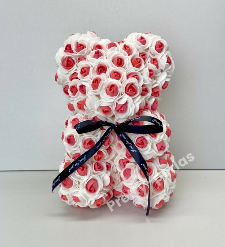 "Valentines ROSE BEAR 9""-ARTIFICIAL RED ROSE TEDDY FLOWER  Mother's Day"