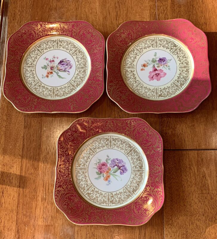 PT Bavaria Tirschenreuth Set of 3 Plates Square Red Border and Flowers 10-1/8""