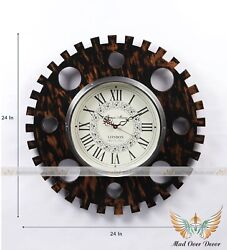 Wooden Handmade Roman Numeral Large Retro Rustic Gear 24 Round Wall Decor Clock