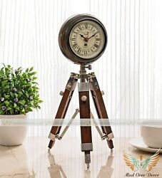 Vintage Look Wooden Round Clock On Wooden Tripod Stand Home Table Top Decor Item