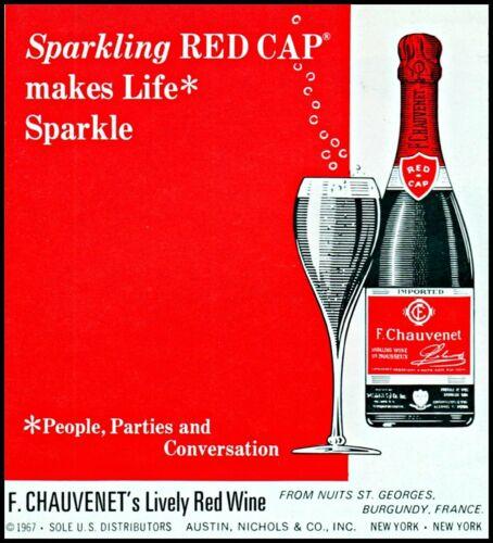 1968 F Chauvenet red wine red cap sparkling bottle vintage photo print Ad ads31