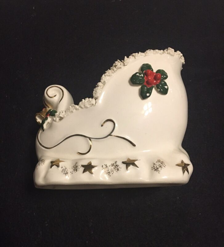 Vintage Napco ceramic Christmas sleigh with spaghetti trim, planter