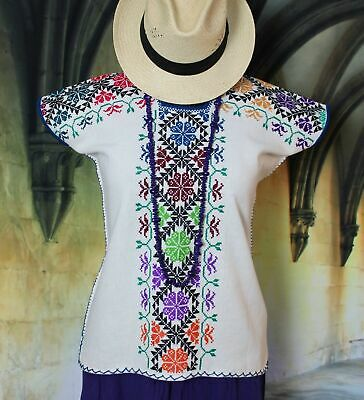 - Mexican Blouse by Purepecha Indian Hand Embroidered & Woven Michoacán Frida Boho