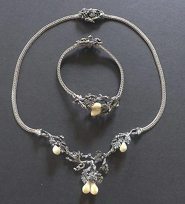VTG Deer Tooth 835 Silver Lavalier Necklace Bracelet Set Hunter Trophy Antique