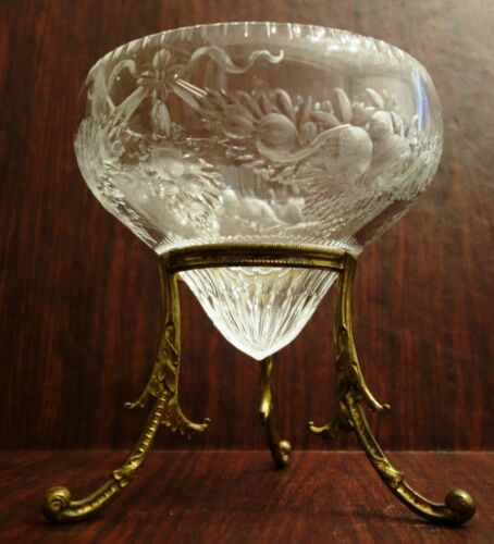 W. Fritsche Etched Rock Crystal Brilliant Glass Bowl Gilded Base Signed