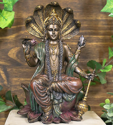 Ebros Hindu God Vishnu On 5 Cobras Throne Statue Narayana Protector Rama Krishna